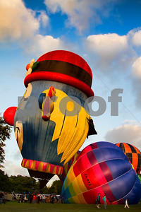Hot air balloon shaped as a clown.  Hamilton, Waikato, New Zealand