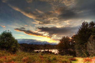 Sunset - outside Te Anau.  Southland, New Zealand